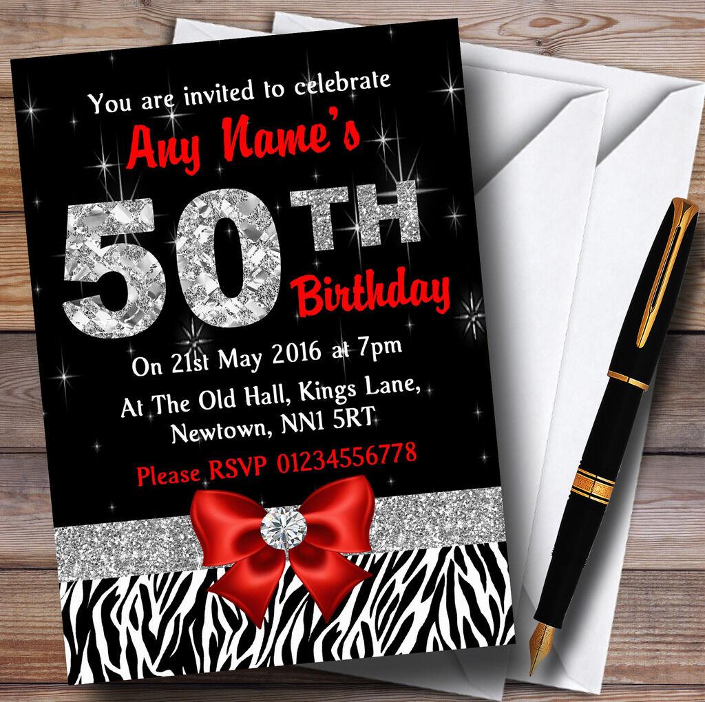 ROT Diamond And Zebra Print Personalised 50Th Birthday Party Invitations 7f3250