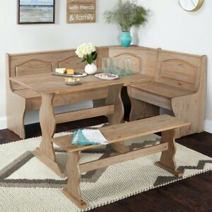 Details about 3 PC Rustic Wooden Breakfast Nook Corner Dining Set Booth  Bench Kitchen Table