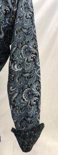 Herren Premiere Langärmlig Knöpfe Kleid Hemd Grau Paisley Designer 626 Neu