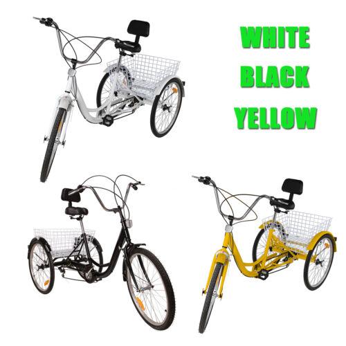 """24/"""" 6 Speed 3 Wheel Adult Tricycle Bicycle Trike Bike W// Basket Adjustable"""