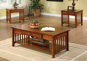Details About 3pc Seville Mission Style Living Room Tail Coffee End Table Set Antique Oak
