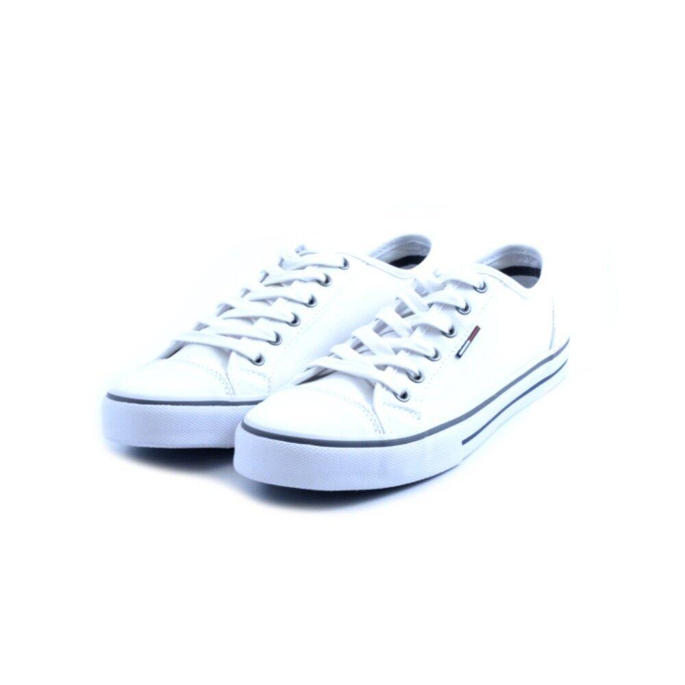 Schuhe Turnschuhe niedrig Tommy weiß Hilfiger man man Stoff Leinwand weiß Tommy Gummi 0f5e68