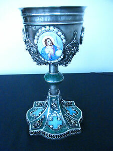 "Russia Lovely Imperial Russian Orthodox Silver Chalice Cup ""ХЛЕБНИКОВ"" Filigree Enamel Pearls"