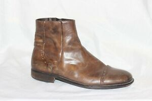 Bacco-Bucci-Brown-Leather-Zip-Ankle-Boots-Men-039-s-Size-11