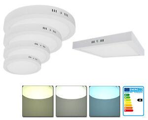LED-Aluminium-Aufputz-Aufbau-Flach-Weiss-Deckenlampe-SMD-Panel-6W-24W-Rund-Eckig