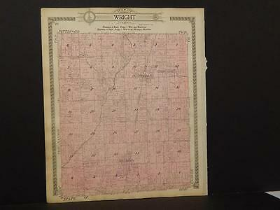 Responsible Michigan Hillsdale County Map Wright Township 1916 Y9#88 Antiques