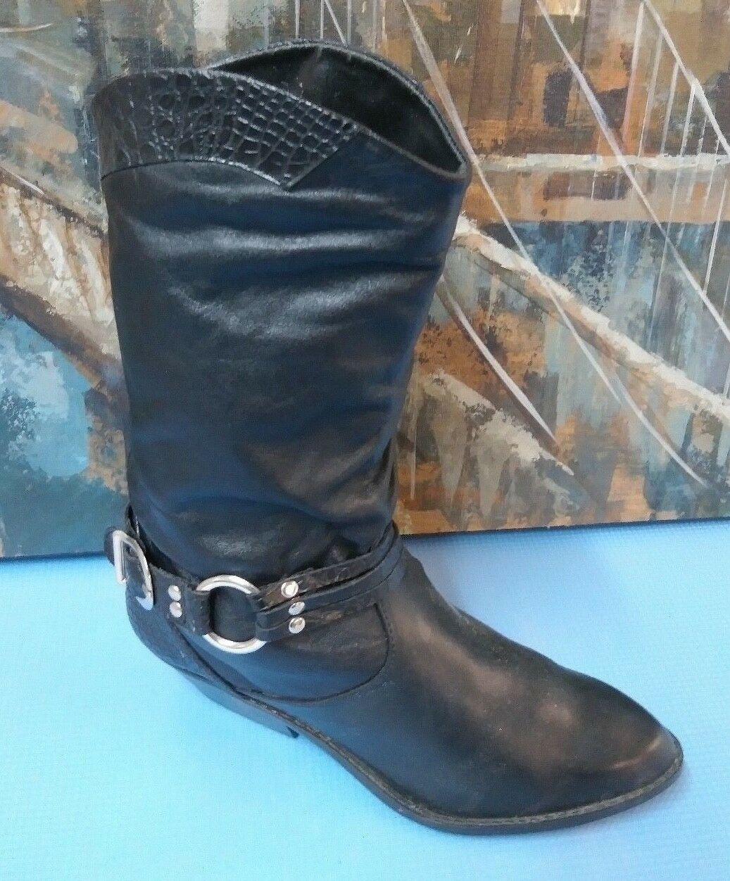 LEATHER CRAFT Black Leather Western Boots Cowboy Cowgirl Women's Size 6.5 M
