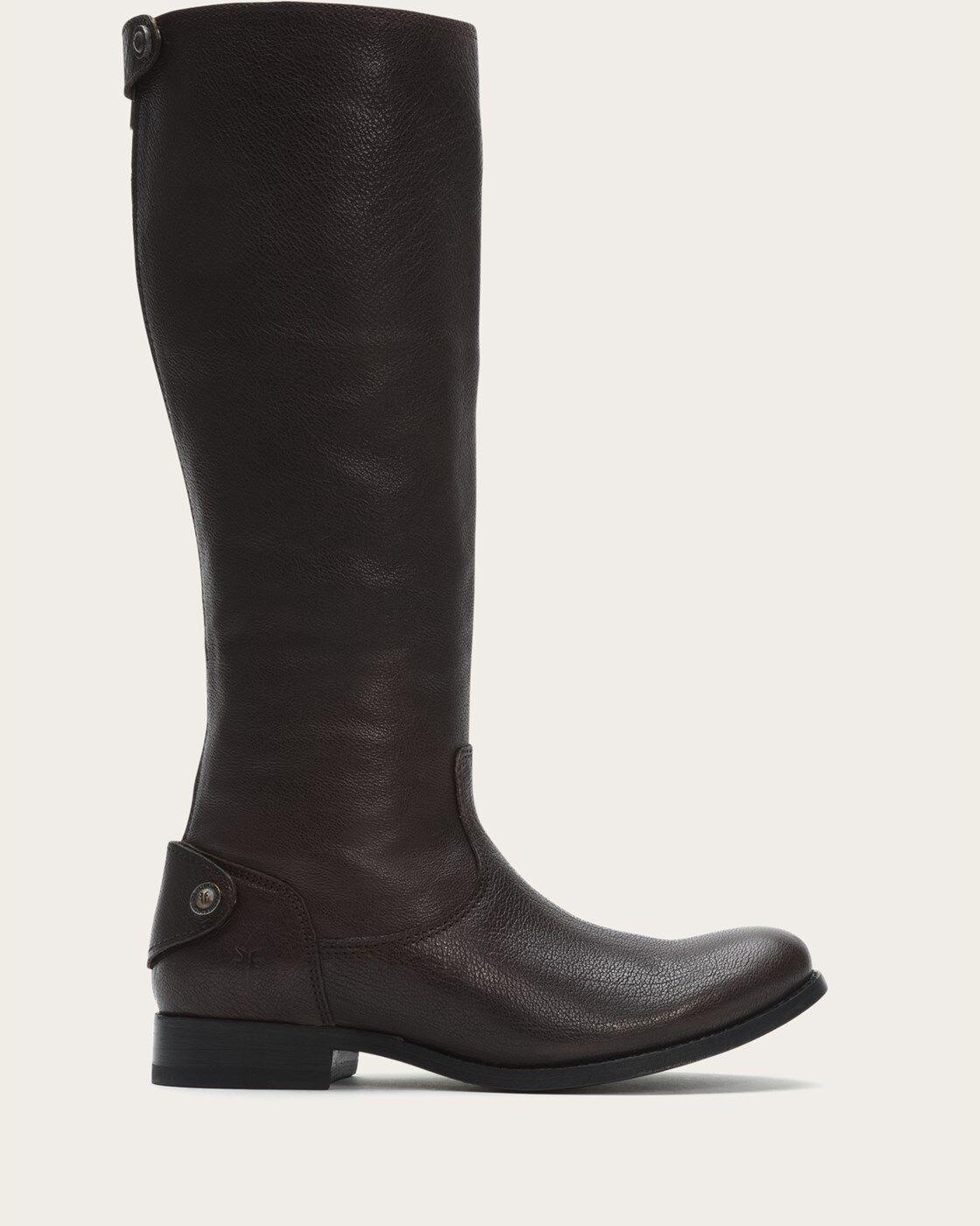 FRYE Melissa Button BACK ZIP Snap Leather RIDING BLACK MOTO Boot 6 B (X9)