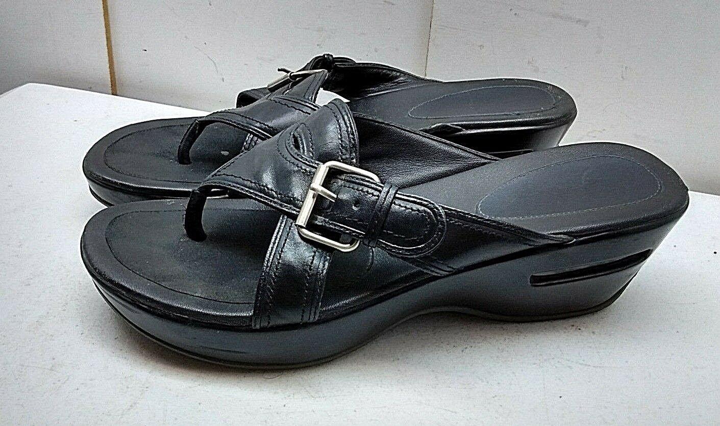 Cole Haan NikeAir Black Leather Slip On Thong Wedge Sandal Buckle Women shoes 8B