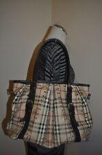 $1,895 BURBERRY Haymarket Check Metal Detail Hobo Tote Shoulder Bag LARGE ITALY