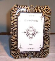 4x6 Jungle Striped Picture Frame, Enamel Crystal Solid Pewter Gold Toned