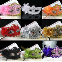 Eye Face Mask Feather Flower for Venetian Masquerade Halloween Costume