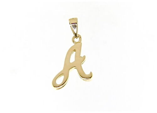 18K YELLOW GOLD LUSTER PENDANT WITH INITIAL A LETTER A MADE IN ITALY 0.71 INCHES