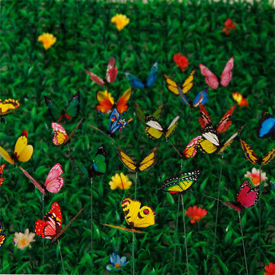 30Pcs Colorful Garden Butterflies Stakes Patio Butterfly Ornaments On Sticks UK