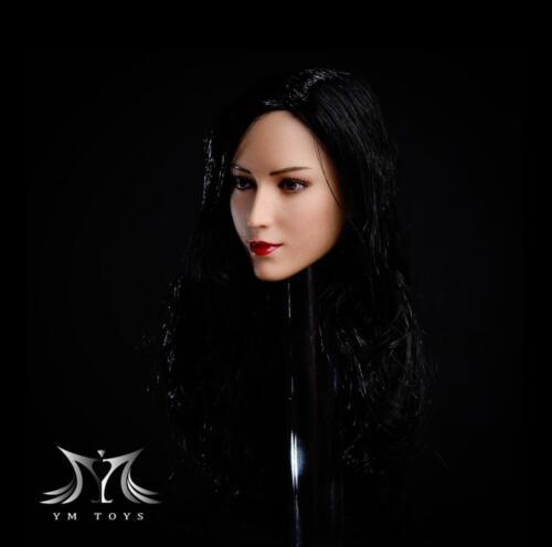 """1//6 Female Head Sculpt long cheveux noirs pour 12/"""" pâle PHICEN Figure Body"""