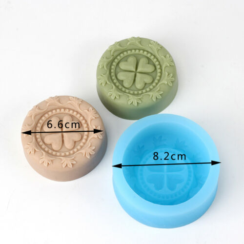 Four Leaf Clover Round Silicone Soap Mold Craft Resin Clay Decorating Tool Candy