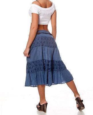 StufenRock Romantik Hüftrock blau dunkelblau 36  Damen RoCK Romantikrock