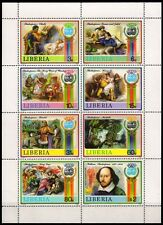 LIBERIA 1987-William Shakespeare-Theatre Romeo & Juliet, Othello, Sheet of 8,MNH