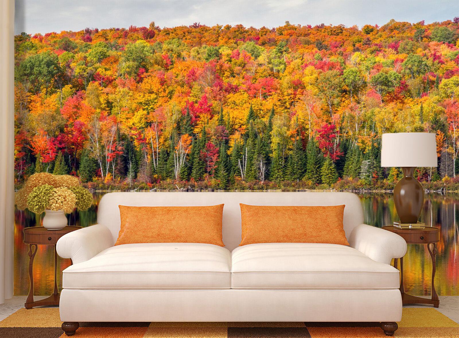 3D Autumn Trees Lakes 945 Wallpaper Mural Paper Wall Print Wallpaper Murals UK