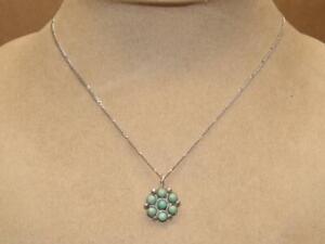 Vtg-PETITE-Southwest-Sterling-Silver-Green-Turquoise-Flower-Pendant-16-034-Necklace