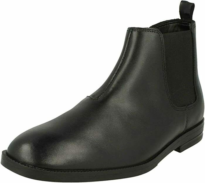 Clarks Boys School Shoes BOOTS Black Leather Size Uk 6.5 G Adult
