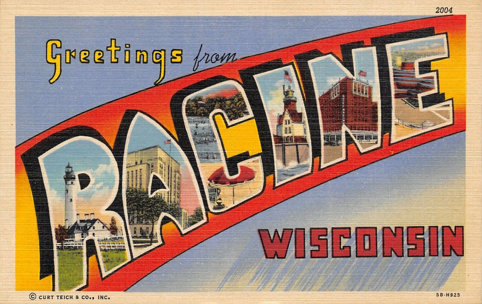 Racine Wisconsin~Large Letter Linen Postcard~Light Houses~Beach~Hotel~1948 PC
