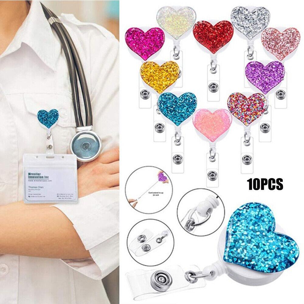 10 Colores Corazón Retráctil nombre ID Card Badge Holder Nurse doctor tarjeta 'de carrete