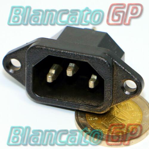 PRESA DA PANNELLO IEC320 C14 ALIMENTAZIONE PC 15A connettore maschio PCB terra