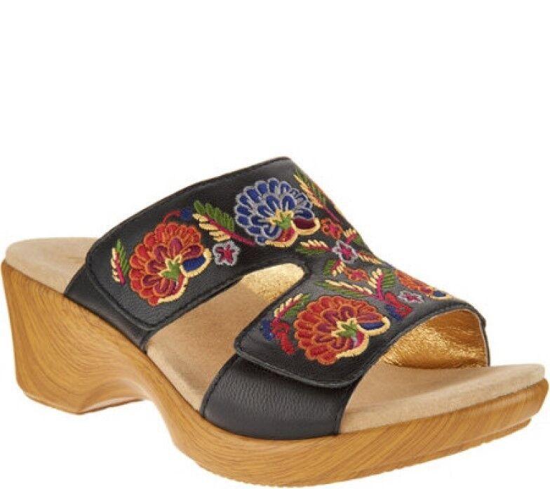 Alegria 39 Bordado De Cuero Slip-On Cuña Sandalias Sandalias Sandalias de nosotros tamaño 8.5 LIN-601N  100% a estrenar con calidad original.