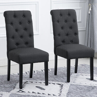 high back upholstered dining room chairs | 2Pcs Dining Chairs High Back Fabric Upholstered Button ...