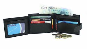 Purse 94-blk Credit Card Holder Hell Men's Soft Black Quality Real Leather Wallet
