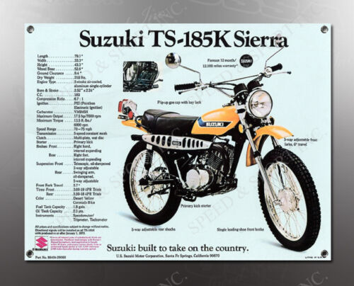 VINTAGE SUZUKI TS-185K SIERRA IMAGE BANNER NOS IMAGE REPRODUCTION