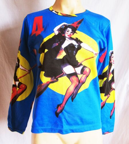 Cute Retro Pin Up witch//kitch//rocabilly T shirt,size M 10-12 BLUE LONG SLEEVE