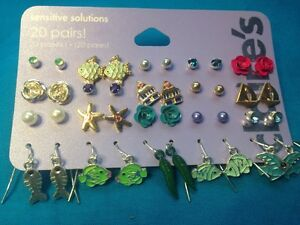 20-Pairs-Of-Claire-039-s-Pierced-Earrings-Tropical-Theme-Fish-Stud-and-Dangling-New