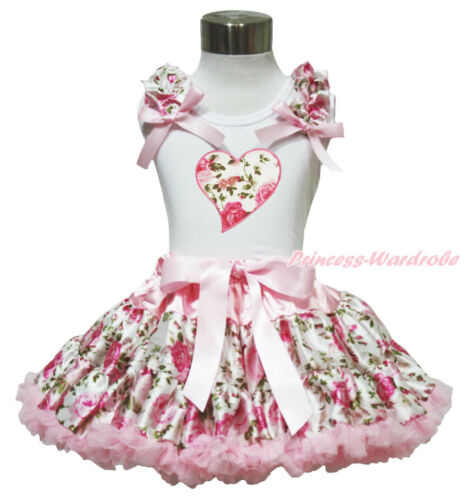 Valentine/'s Day Pink Rose Heart White Top Shirt Girl Pettiskirt Outfit 1-8Year