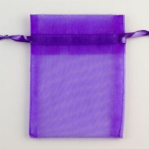 Image Is Loading 100 Purple Organza Bag Jewellery Pouches Xmas Wedding