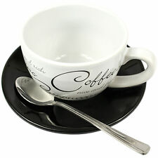 8 Piece Script Cappuccino Cups & Saucers With Teaspoons Tea Coffee Latte Mugs