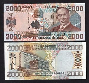 Sierra Leone 1985 2 Leones P6h UNC w//FDI UN FLAG STAMP Prefix B//108