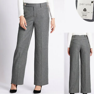 New PER UNA Wool Rich WIDE Leg TAILORED TROUSERS ~ Size 18 Long ~ GREY