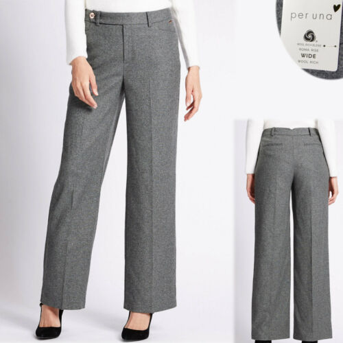 PER UNA Wool Rich WIDE Leg TAILORED TROUSERS ~ Size 14 Regular ~ GREY
