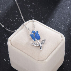 Fashion-925-Silver-Blue-Fire-Opal-Charm-Flower-Pendant-Necklace-Chain-Jewelry