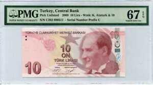 Turkey 10 Lira 2009 / 2017 P 223 Superb Gem UNC PMG 67 EPQ