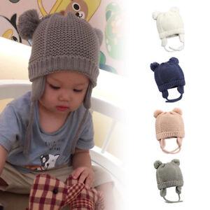 50011b15ce7 Bébé Enfant Tricot Chapeau Bonnet Cache-oreille Peluche Boule Mignon ...