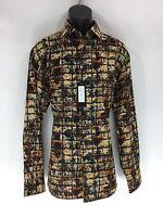 Bassiri Men's Shirt Long Sleeve Black Beige Brown Gray & Orange Sizes L - 3xl