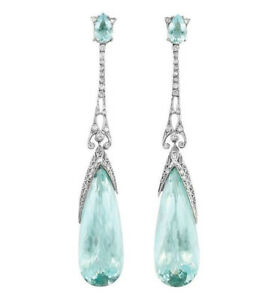 Exquisite-Silver-Aquamarine-Gems-Cocktail-Dangle-HooK-Teardrop-Wedding-Earring