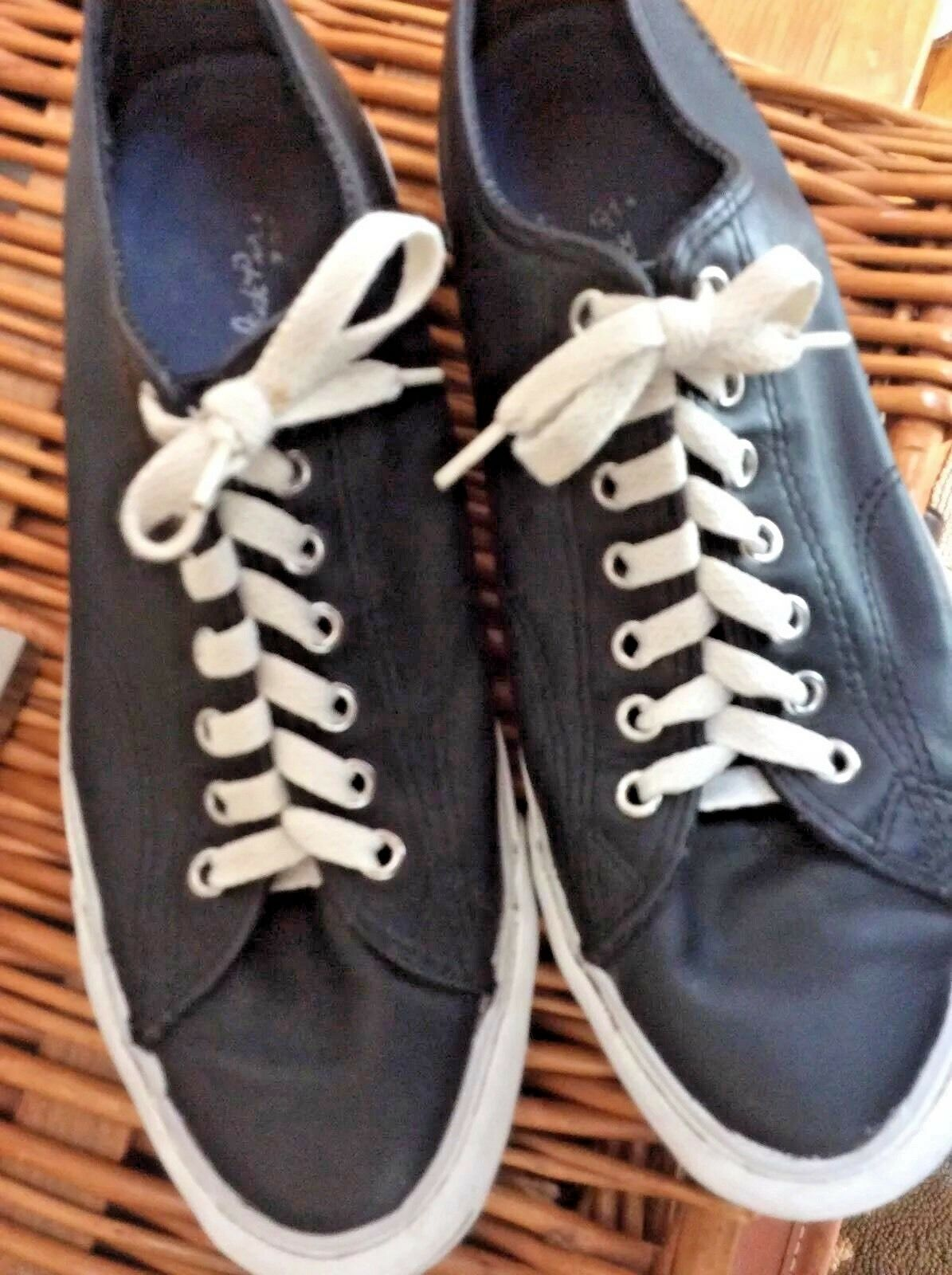 Converse Uomo 8 JACK PURCELL Converse  Sneakers BLACK LEATHER Tennis Schuhes NO TOE CAP 9.5 699126