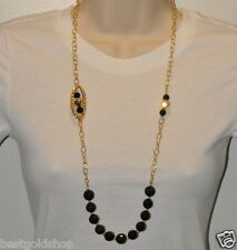 "32"" Technibond Black ONYX Gemstone Chain Necklace 14K Yellow Gold Clad Silver"