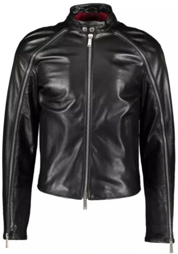 1,805 DSQUARED 2 Homme en Cuir Noir Veste De Motard IT50UK40 afficher le titre d'origine