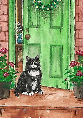 5x7 PRINT of PAINTING RYTA FOLK ART TUXEDO CAT BUTTERFLY WHIMSICAL FLOWERS TREE
