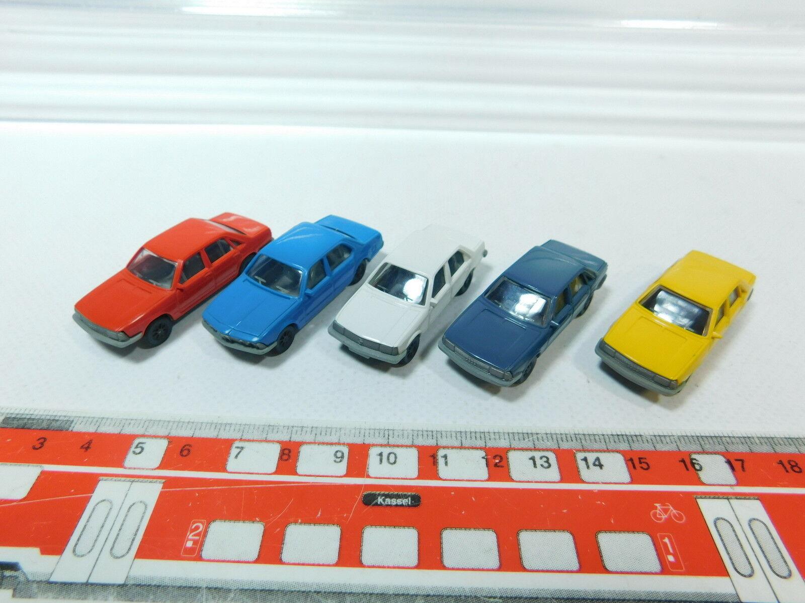 At284-0, 5 x Fleischmann H0 H0 H0 Car  Opel Record + Audi 100+ BMW 745i, Very Good 08836e